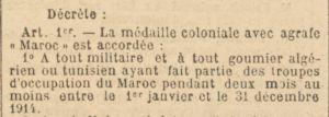 Décret Médaille Maroc