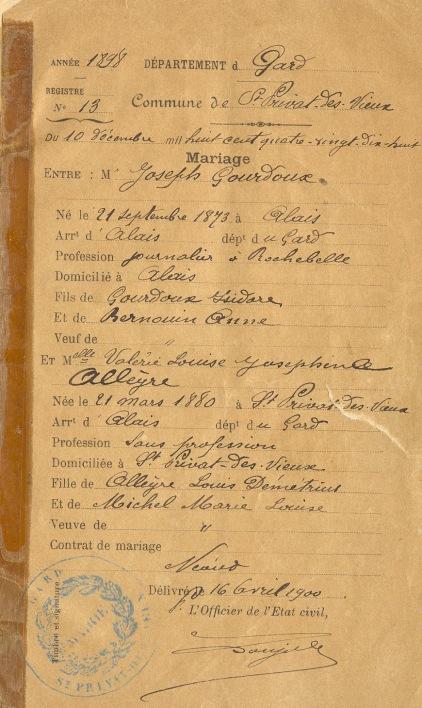 Mariage Joseph Josephine