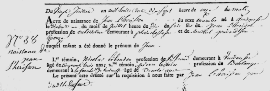 Naissance Lherisson Jean_1817