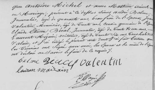 Acte de mariage Antoine Michel et Anne Mathieu, AM Alès, CD6/64, CD6/65, Mariages (1837-1841), vue 337/584
