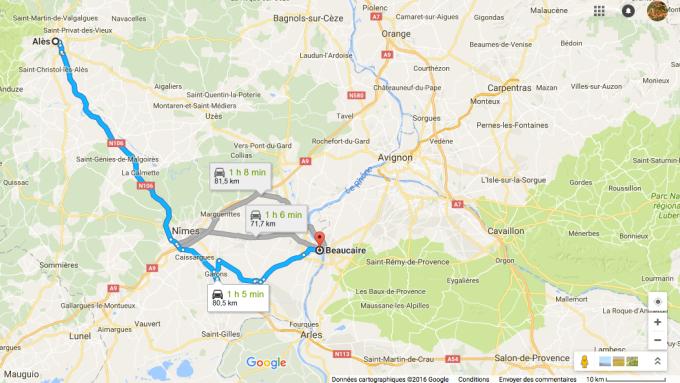 Distance Alès-Beaucaire